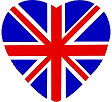 Union Jack flag in heart shape Photographic Print