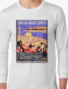 Vintage Simplon Orient Express London Constantinople Long Sleeve T-Shirt