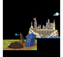 The Doctor and Hogwarts, 8-Bit Art Compilation Photographic Print