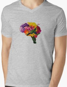 Floral Brain Mens V-Neck T-Shirt