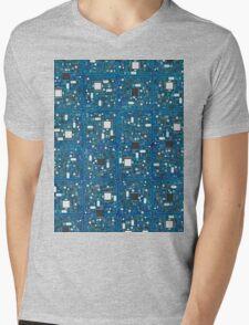 Blue tech Mens V-Neck T-Shirt