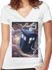 TARDIS In The Time Vortex Women's Fitted V-Neck T-Shirt