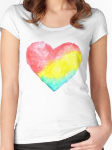 cute watercolor heart Women's Fitted Scoop T-Shirt