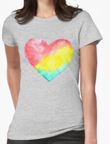 cute watercolor heart Womens Fitted T-Shirt