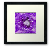 Amethyst purple heart shaped crystals geode Framed Print