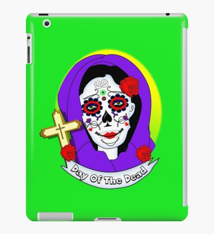 Day of The Dead Painted Lady Scrolls Roses Graphic iPad Case/Skin