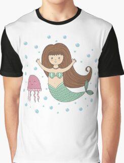 Cute mermaid and jellyfish Graphic T-Shirt