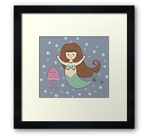 Cute mermaid and jellyfish Framed Print