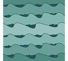 blue waves hand drawn pattern Photographic Print