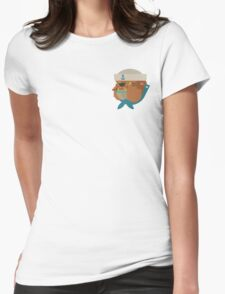 Flat Design Bulldog Sailor Womens Fitted T-Shirt