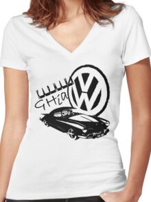 Karmann Ghia Graphic Women's Fitted V-Neck T-Shirt