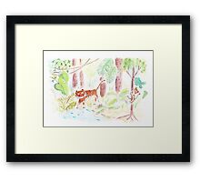 Jungle friends : tiger and monkey Framed Print