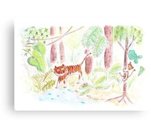 Jungle friends : tiger and monkey Canvas Print