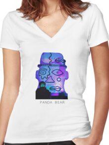 Panda Bear Statue Women's Fitted V-Neck T-Shirt