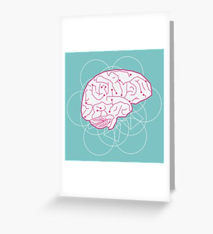 Human brain illustration. Cognitive science Greeting Card