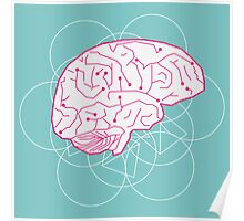 Human brain illustration. Cognitive science Poster