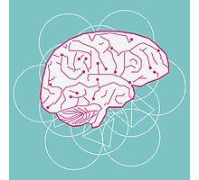 Human brain illustration. Cognitive science Photographic Print