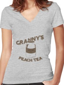Granny's Peach Tea Brown Women's Fitted V-Neck T-Shirt