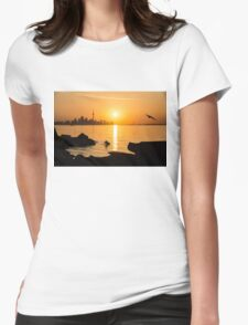 Golden Toronto Skyline at Sunrise Womens Fitted T-Shirt