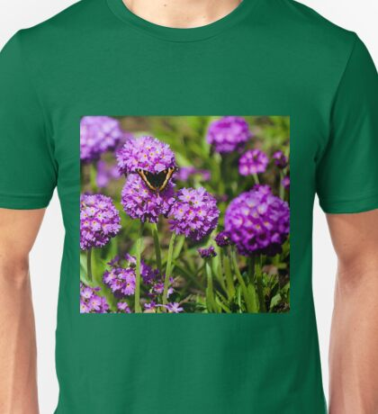 Shooting Star Flowers and Butterfly Unisex T-Shirt