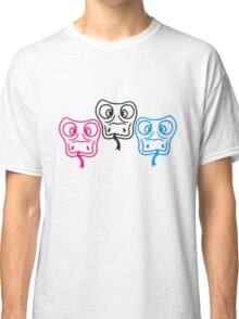 colorful 3 friends team cool crew party head face funny long comic cartoon snake Classic T-Shirt