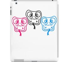 colorful 3 friends team cool crew party head face funny long comic cartoon snake iPad Case/Skin