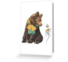 Cartoon hipster bear  Greeting Card