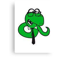 glasses snake bookworm nerd geek ties hornbrille smart funny cool comic cartoon Canvas Print