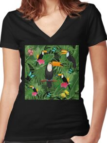Toucan tropic  Women's Fitted V-Neck T-Shirt