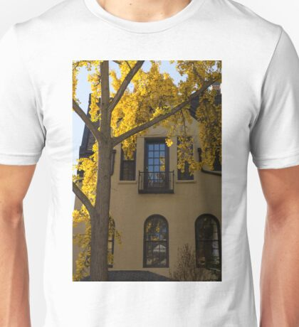 Yellow on Yellow - Golden Ginkgo Biloba and an Elegant Facade Unisex T-Shirt