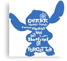 Stitch Ohana means family Canvas Print