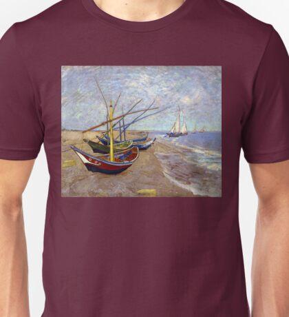 Vincent van Gogh Fishing Boats on the Beach at Saintes-Maries Unisex T-Shirt