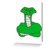 wicked cool dangerous cobra snake comic cartoon design Greeting Card