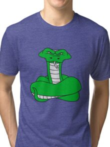 wicked cool dangerous cobra snake comic cartoon design Tri-blend T-Shirt