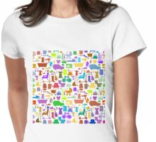 Shopping icons pattern with theme for sale Womens Fitted T-Shirt
