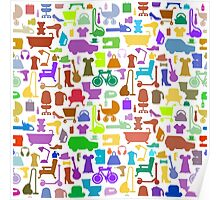 Shopping icons pattern with theme for sale Poster
