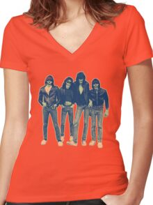 RAMONES ZOMBIES Women's Fitted V-Neck T-Shirt