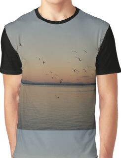 Seagulls flying in the sky at dusk.  Graphic T-Shirt