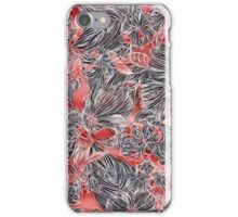 Energetic Flower Pattern, Red iPhone Case/Skin