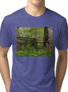 Colorful Tulips and a Rustic Fence - Enjoying the Beauty of Spring Tri-blend T-Shirt