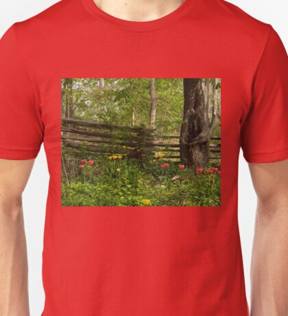 Colorful Tulips and a Rustic Fence - Enjoying the Beauty of Spring Unisex T-Shirt