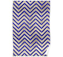 Gold And Blue Geometric Pattern Poster