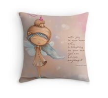Fairy Girl and the Hedgehog - Joy Quotes Throw Pillow