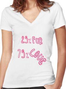 """25 % Fur 75 % Love"" Women's Fitted V-Neck T-Shirt"