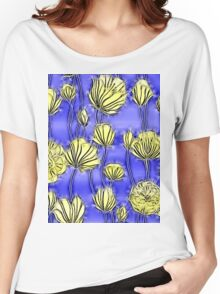 Energetic Flower Pattern, yellow and blue 2 Women's Relaxed Fit T-Shirt
