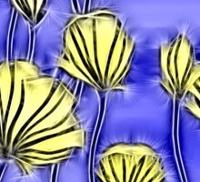 Energetic Flower Pattern, yellow and blue 2 Sticker