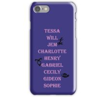 Infernal Devices Character Names iPhone Case/Skin