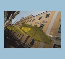 Vienna Street Life - Cheery Yellow Umbrellas at an Outdoor Cafe Kids Tee