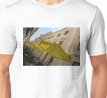 Vienna Street Life - Cheery Yellow Umbrellas at an Outdoor Cafe Unisex T-Shirt