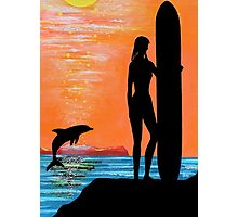 SURFER GIRL WITH LEAPING DOLPHIN Photographic Print